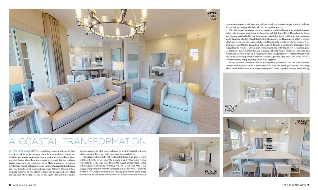 2019 Your Home Magazine Feature Article - Naples Kitchen & Bath