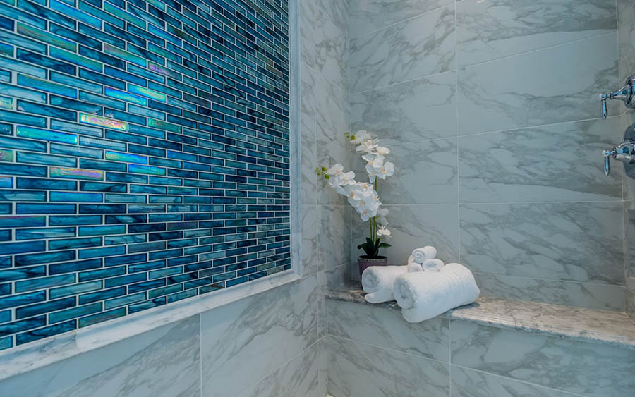 Luxury Blue Glass & Marble Tile Shower, Naples Kitchen & Bath, Bathroom Remodels in Naples Florida