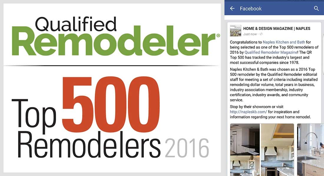 "Naples Kitchen & Bath named to ""Qualified Remodeler Top 500"" for 2016"